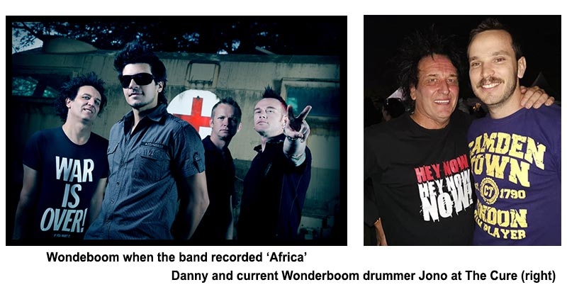 "Wondeboom when the band recorded ""Africa"" Danny and current Wonderboom drummer Jono at The Cure"