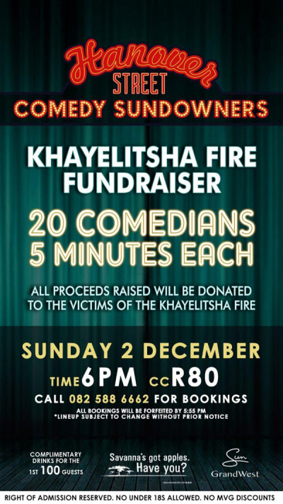 GrandWest - Hanover Street Comedy Sundowners - 2 December 2018