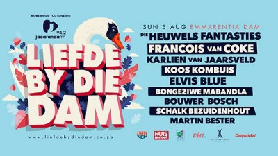 Liefde by die Dam 2018 at Emmarentia Dam 5 Aug. Lineup Schedule.